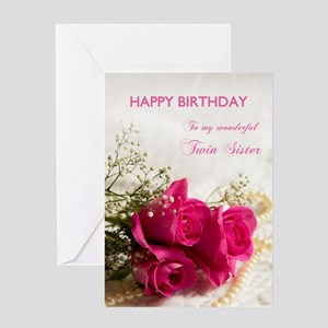 For twin sister, Happy birthday with roses Greetin