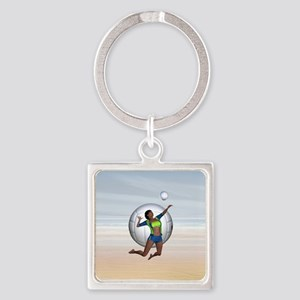 Volleyball Groupie Square Keychain