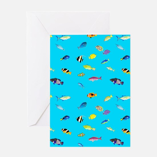 Pacific Reef Fish Scatter Greeting Cards