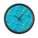 Pacific Reef Fish Scatter Large Wall Clock