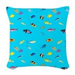 Pacific Reef Fish Scatter Woven Throw Pillow