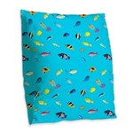 Pacific Reef Fish Scatter Burlap Throw Pillow