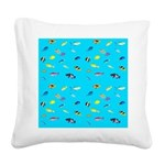 Pacific Reef Fish Scatter Square Canvas Pillow