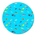 Pacific Reef Fish Scatter Round Car Magnet