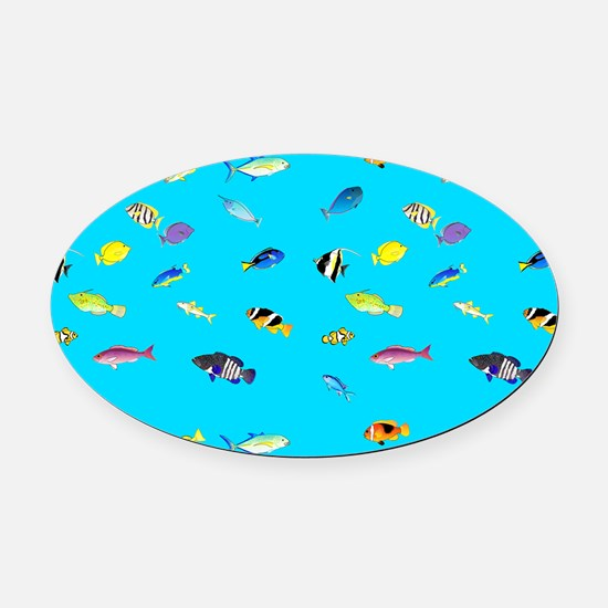 Pacific Reef Fish Scatter Oval Car Magnet