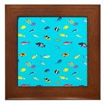 Pacific Reef Fish Scatter Framed Tile