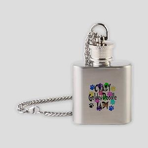 Crazy Goldenddoodle Lady Flask Necklace
