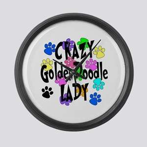 Crazy Goldenddoodle Lady Large Wall Clock