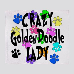 Crazy Goldenddoodle Lady Throw Blanket