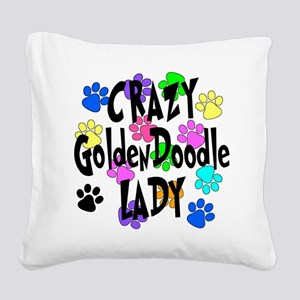 Crazy Goldenddoodle Lady Square Canvas Pillow
