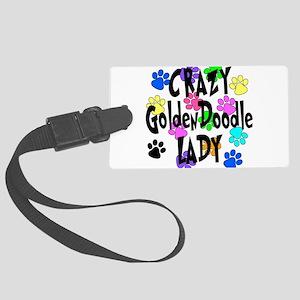 Crazy Goldenddoodle Lady Large Luggage Tag