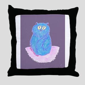 Blue Kitten (violet) Throw Pillow