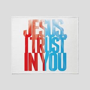 Jesus I Trust in You Throw Blanket