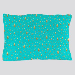 blue and gold buddha Pillow Case