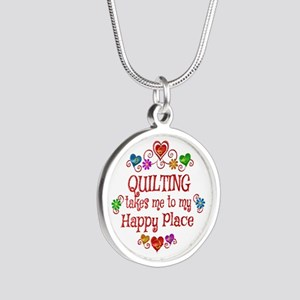 Quilting Happy Place Silver Round Necklace