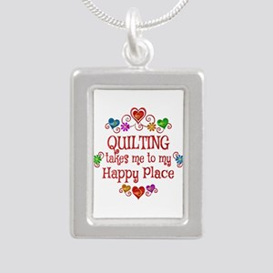 Quilting Happy Place Silver Portrait Necklace