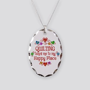 Quilting Happy Place Necklace Oval Charm