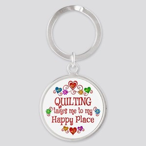 Quilting Happy Place Round Keychain