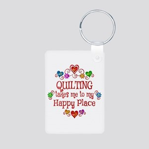 Quilting Happy Place Aluminum Photo Keychain