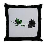Gothique Black Rose Throw Pillow