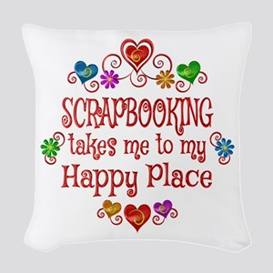 Scrapbooking Happy Place Woven Throw Pillow