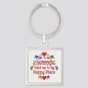 Scrapbooking Happy Place Square Keychain