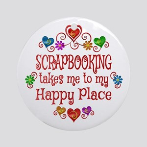 Scrapbooking Happy Place Round Ornament