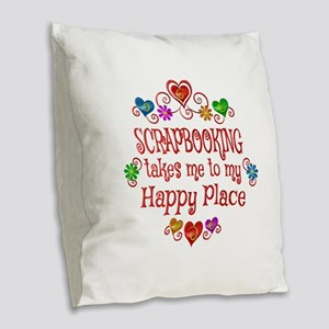 Scrapbooking Happy Place Burlap Throw Pillow