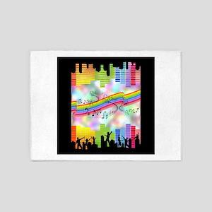 Colorful Musical Theme 5'x7'Area Rug