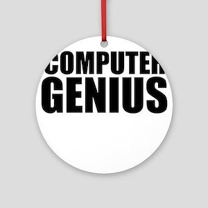 Computer Genius Round Ornament