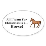 Christmas Horse Sticker (Oval 10 pk)