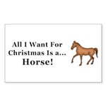 Christmas Horse Sticker (Rectangle 10 pk)