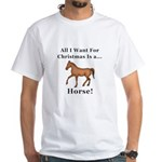 Christmas Horse White T-Shirt