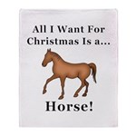 Christmas Horse Throw Blanket