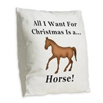 Christmas Horse Burlap Throw Pillow