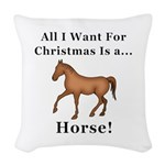 Christmas Horse Woven Throw Pillow