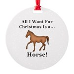Christmas Horse Round Ornament