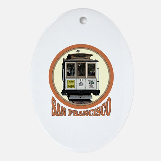 Funny Cable car Oval Ornament