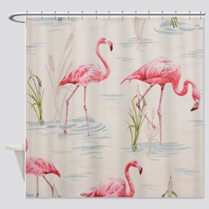 Flamingo Print Shower Curtain