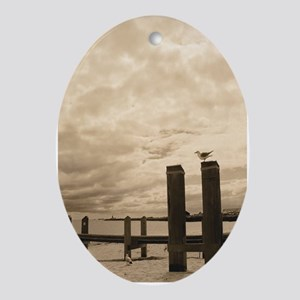 Lonely Seagull On Pier Oval Ornament