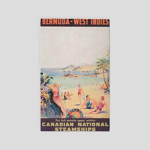 Bermuda, West Indies, Vintage Travel Post Area Rug