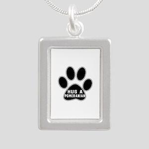 Hug A Pomeranian Dog Silver Portrait Necklace