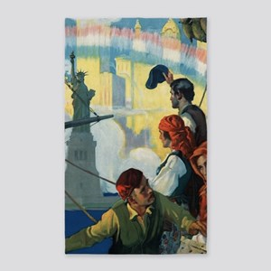 Immigrants and The Statue of Liberty Artw Area Rug