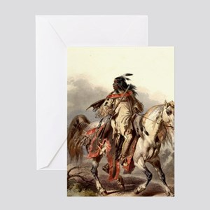 Blackfoot Native American Warrior Greeting Cards