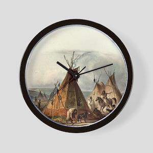 Assiniboin Native Skin Lodge Wall Clock