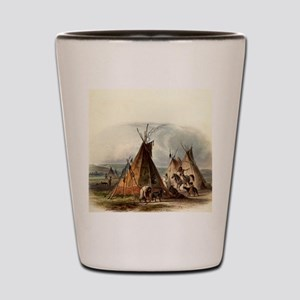 Assiniboin Native Skin Lodge Shot Glass