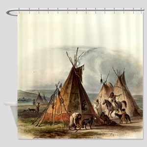 Assiniboin Native Skin Lodge Shower Curtain