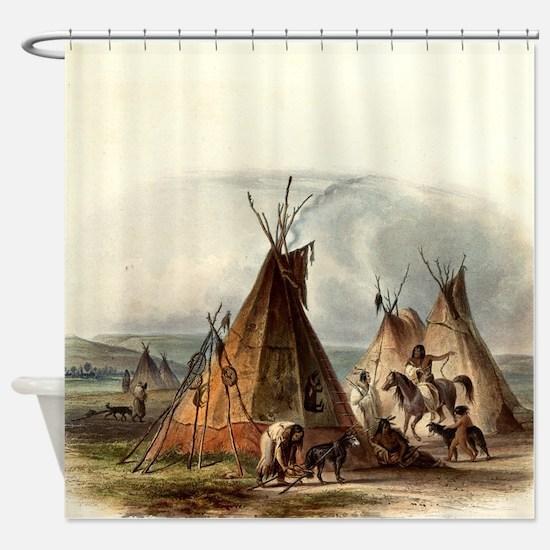 Assiniboin Native Skin Lodge Shower Curtain