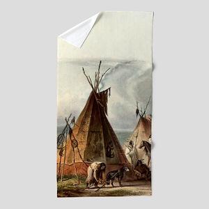Assiniboin Native Skin Lodge Beach Towel