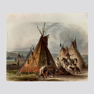 Assiniboin Native Skin Lodge Throw Blanket